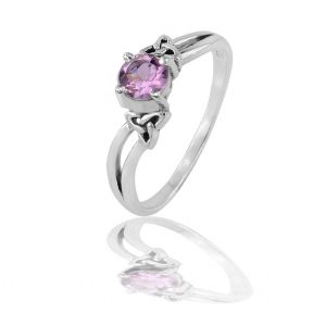Celtic Silver Engagement Ring with Amethyst 9143